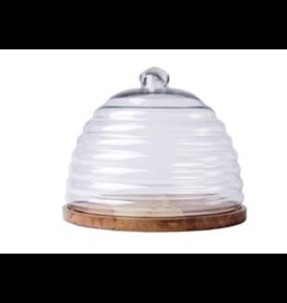 BIDK Mango Wood and Glass Round Hive Food Dome