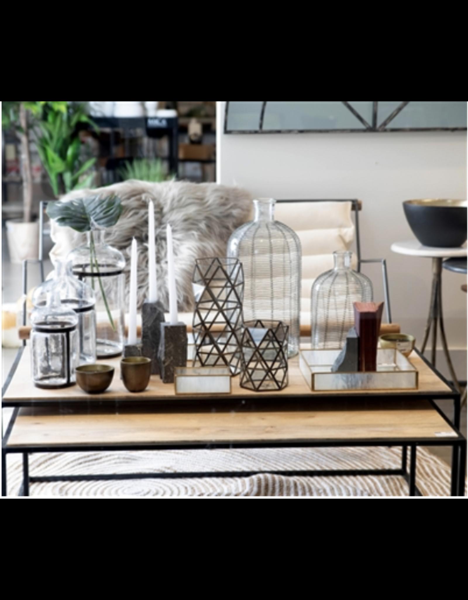 BIDK Small Glass & Iron Bottleneck Vase