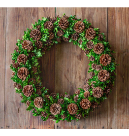Park Hill Preserved Boxwood and Pine Cone Wreath