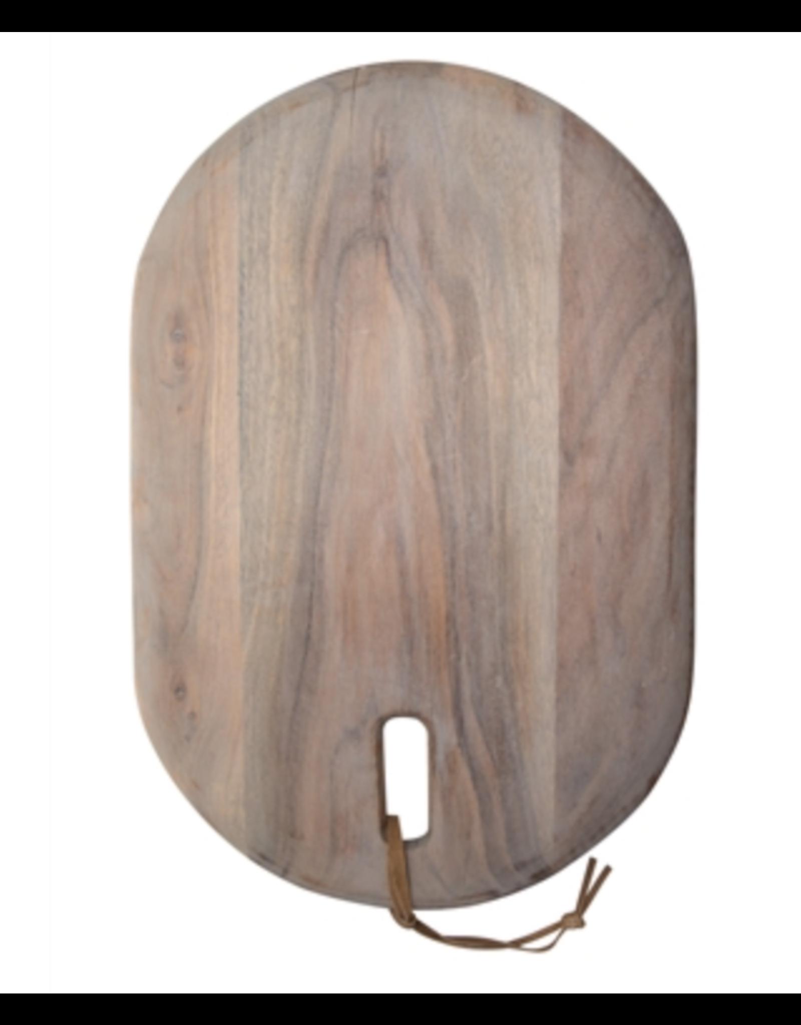 "BIDK Acacia Wood Cutting Board Lime Wash 17"" x 11"""