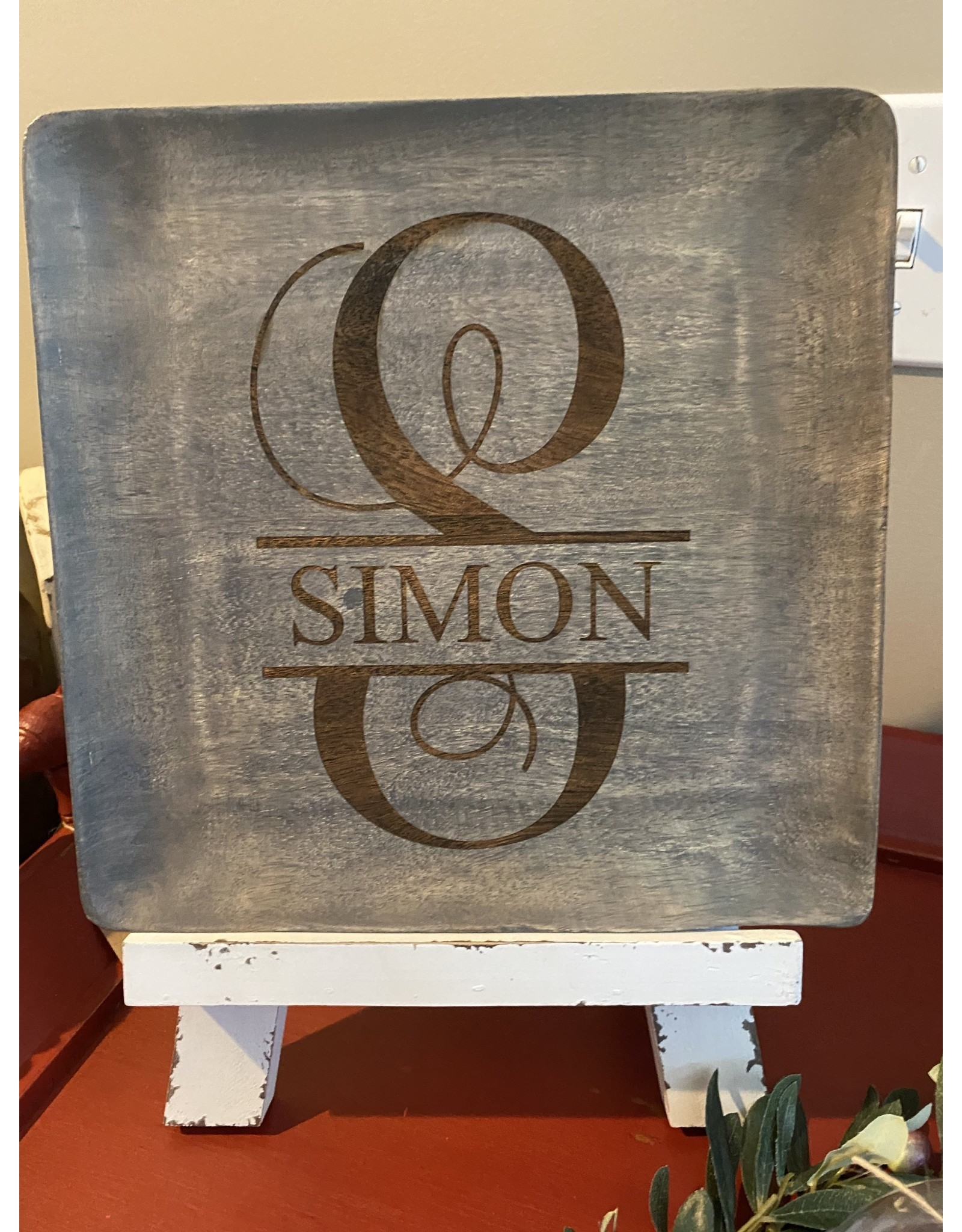GIB Carson Companies Grey Mango Wood Platter Medium