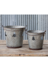 Park Hill Galvanized Tree Cut Out Bucket Small