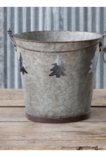 Park Hill Galvanized Tree Cut Out Bucket Large