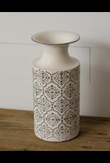 Audrey's White Metal Embossed Vase