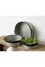 Audrey's Galvanized Metal Trays with Black Accents Large