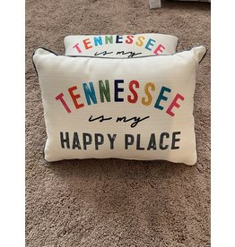 Little Birdie Tennessee Is My Happy Place Pillow (Gray)