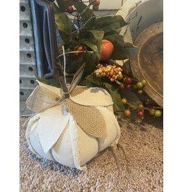 PD Home & Garden Cream Fabric Pumpkin