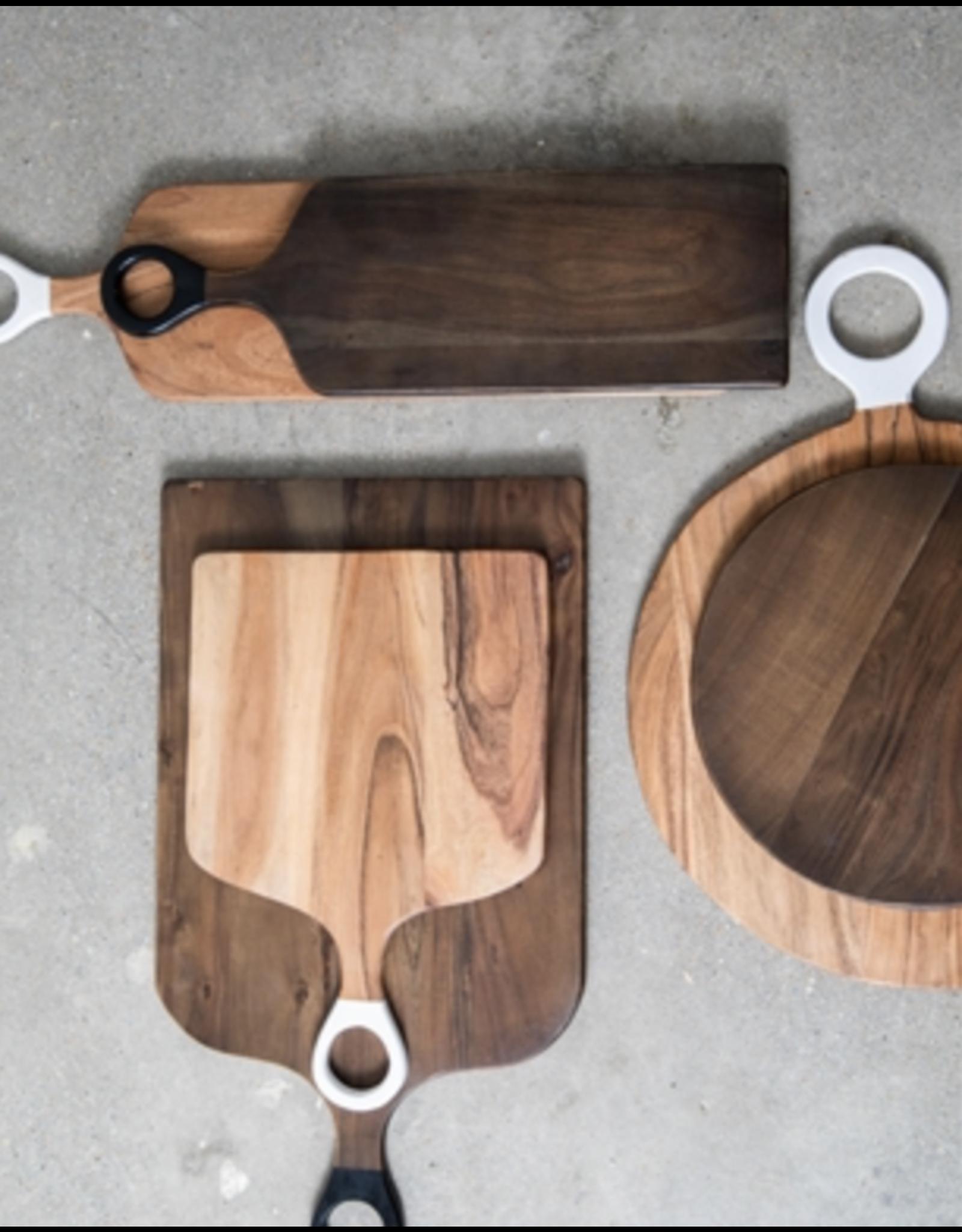 BIDK Acacia Wood Round Cutting Board 13.8 Dark Brown
