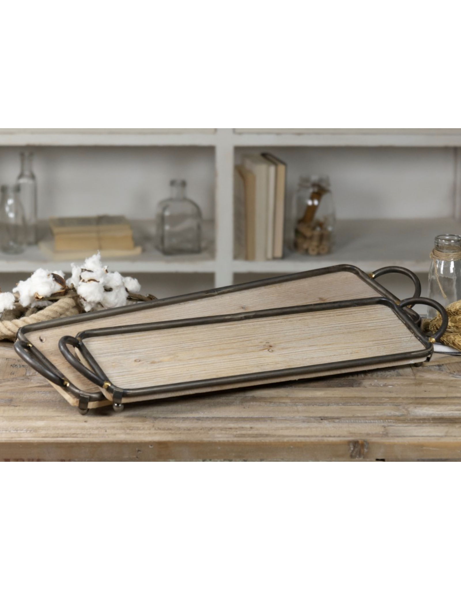 VIP Home & Garden Long Flat Metal & Wood Tray with Handles Large