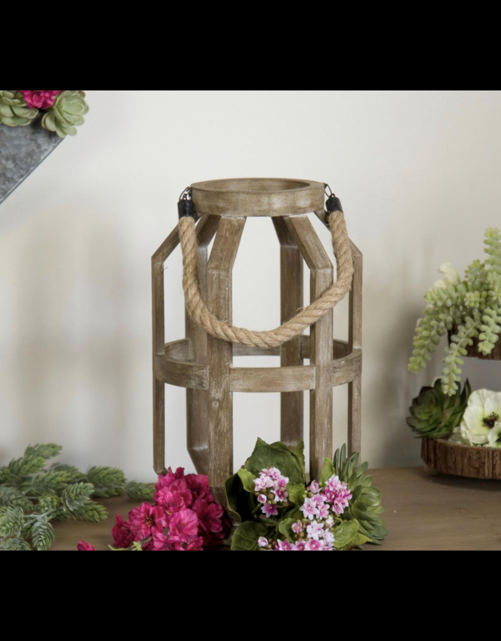 VIP Home & Garden Oval Wood Lantern