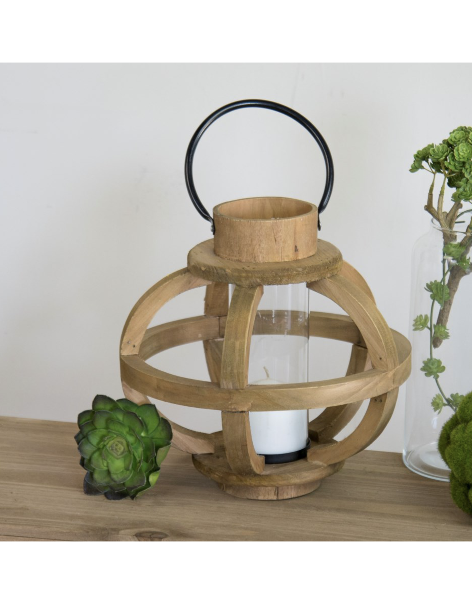 VIP Home & Garden Round Wood Candle Holder