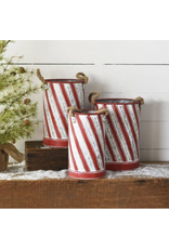 PD Home & Garden Holiday Striped Tin Large