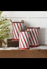 PD Home & Garden Holiday Striped Tin Medium