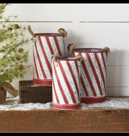 PD Home & Garden Holiday Striped Tin Small