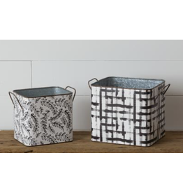 Audrey's Distressed Plaid Square Nested Tin