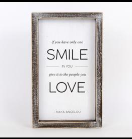 "Adams & Co. Wood Sign ""Smile/Love"""