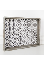 Adams & Co. Black & White Mosaic Tray