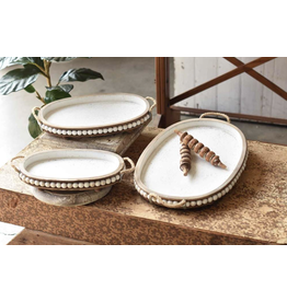 Lancaster & Vintage Oval Beaded Tray Small
