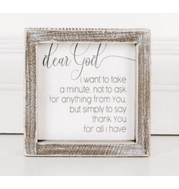"Adams & Co. Wood Sign ""Dear God"""