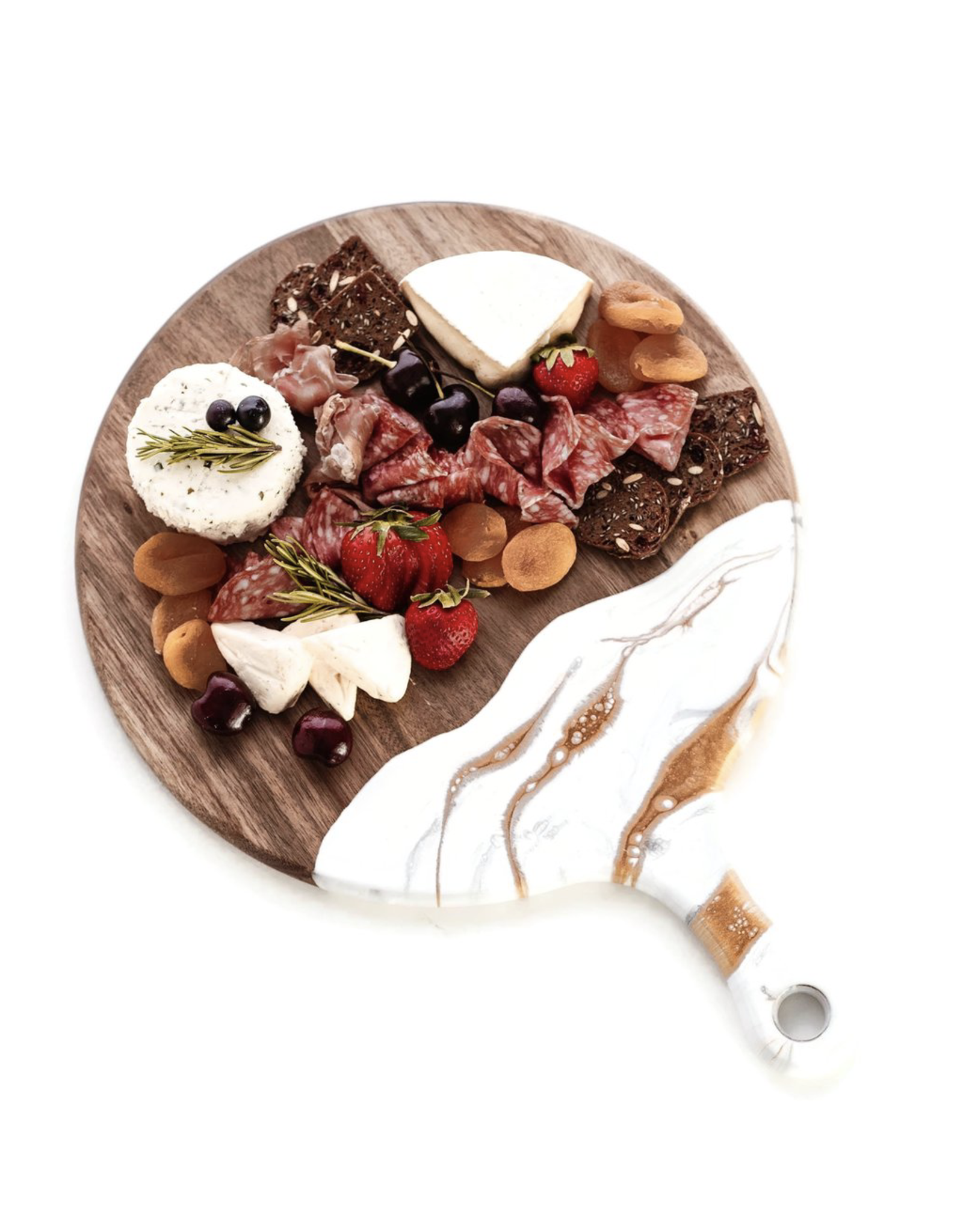 Lynn & Liana Acacia White, Grey & Gold Round Cheeseboard with Handle