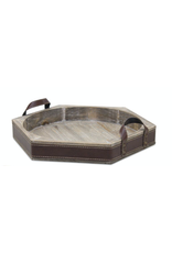 Melrose Wood Tray with Leather Trim Large