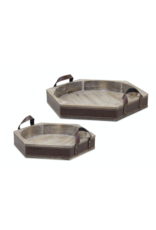 Melrose Wood Tray with Leather Trim Small
