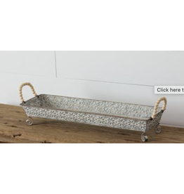 Audrey's Embossed Fair Isle Tray with Beaded Handle