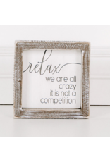 """Adams & Co. Wood Sign """"We're All Crazy"""""""