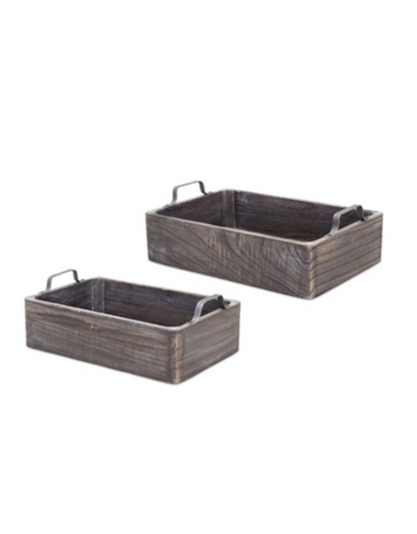 Melrose Charcoal Wooden Tray with Handles Small