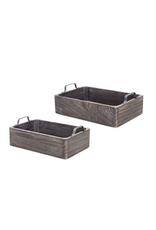 Charcoal Wooden Tray with Handles Large