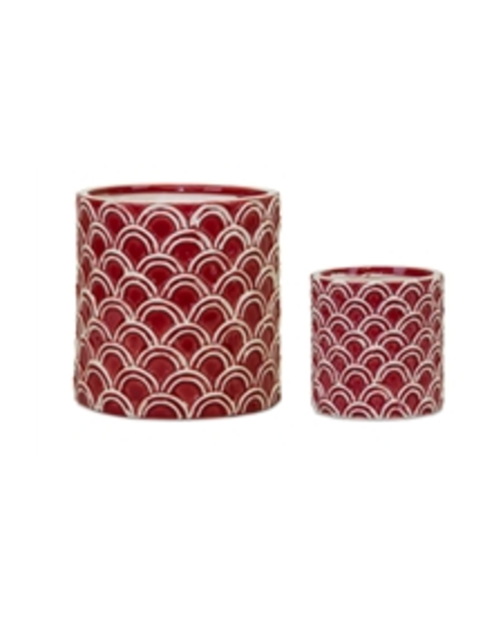 Melrose Red Scallop Planter Large