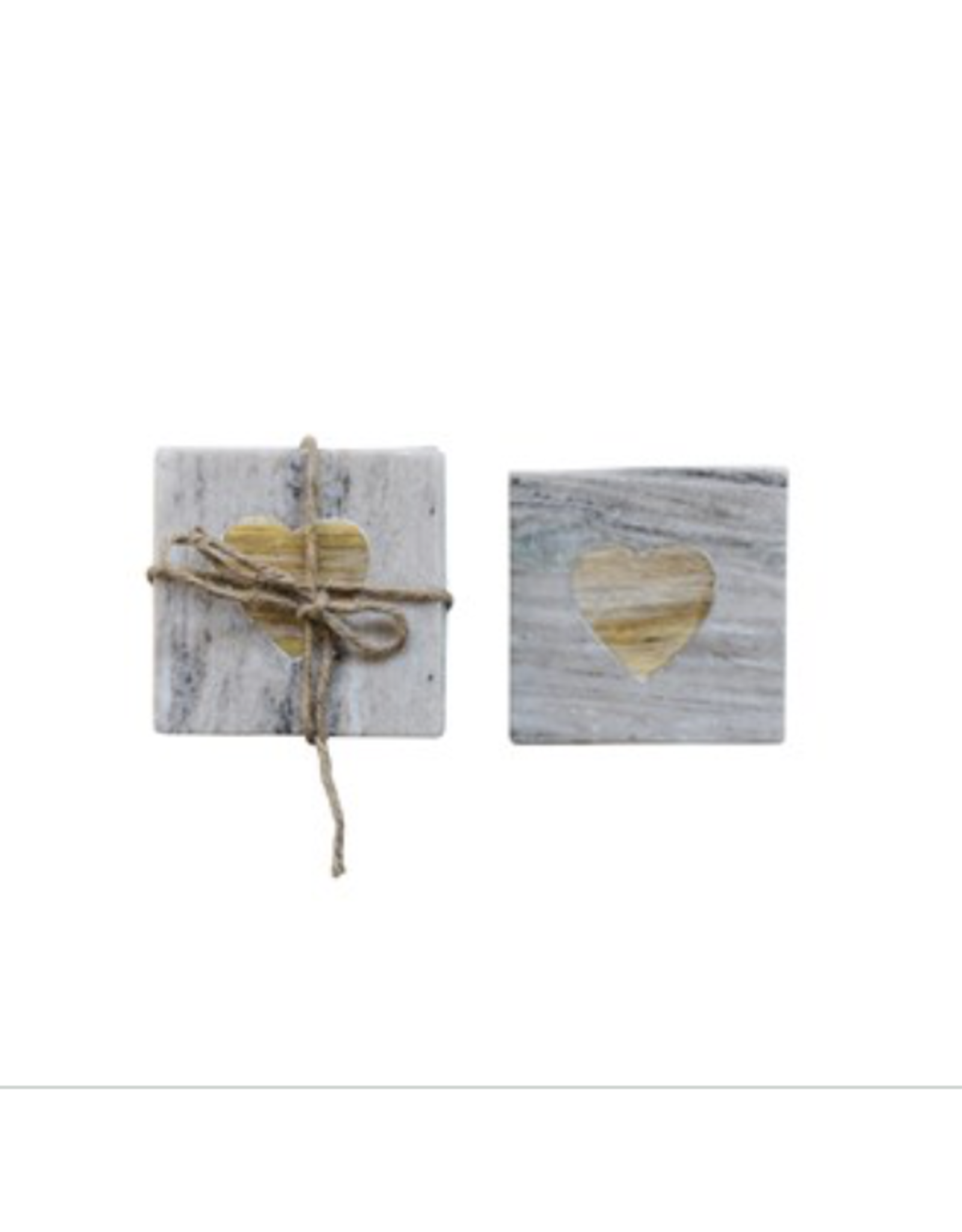 Creative Co-Op Marble Coasters with Heart Inset