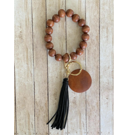 KW Custom Creations 2 Wooden Beaded Wristlet Keychain