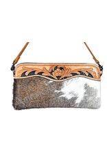 American Darling Leather Carved Brown on White Crossbody