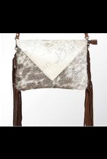 American Darling Brown on White Envelope with Tassel Handbag