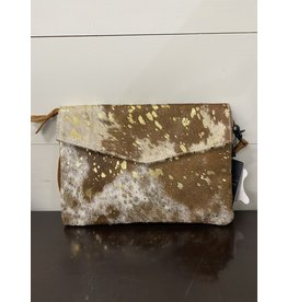 American Darling Brown & Gold Envelope Handbag
