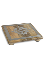 """Gerson 10"""" Wood Trivet with Metal Inlay"""