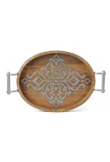 """Gerson Wood & Metal Oval Tray 21"""""""