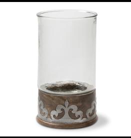 "Gerson Wood & Metal Round Candleholder 12.5"""