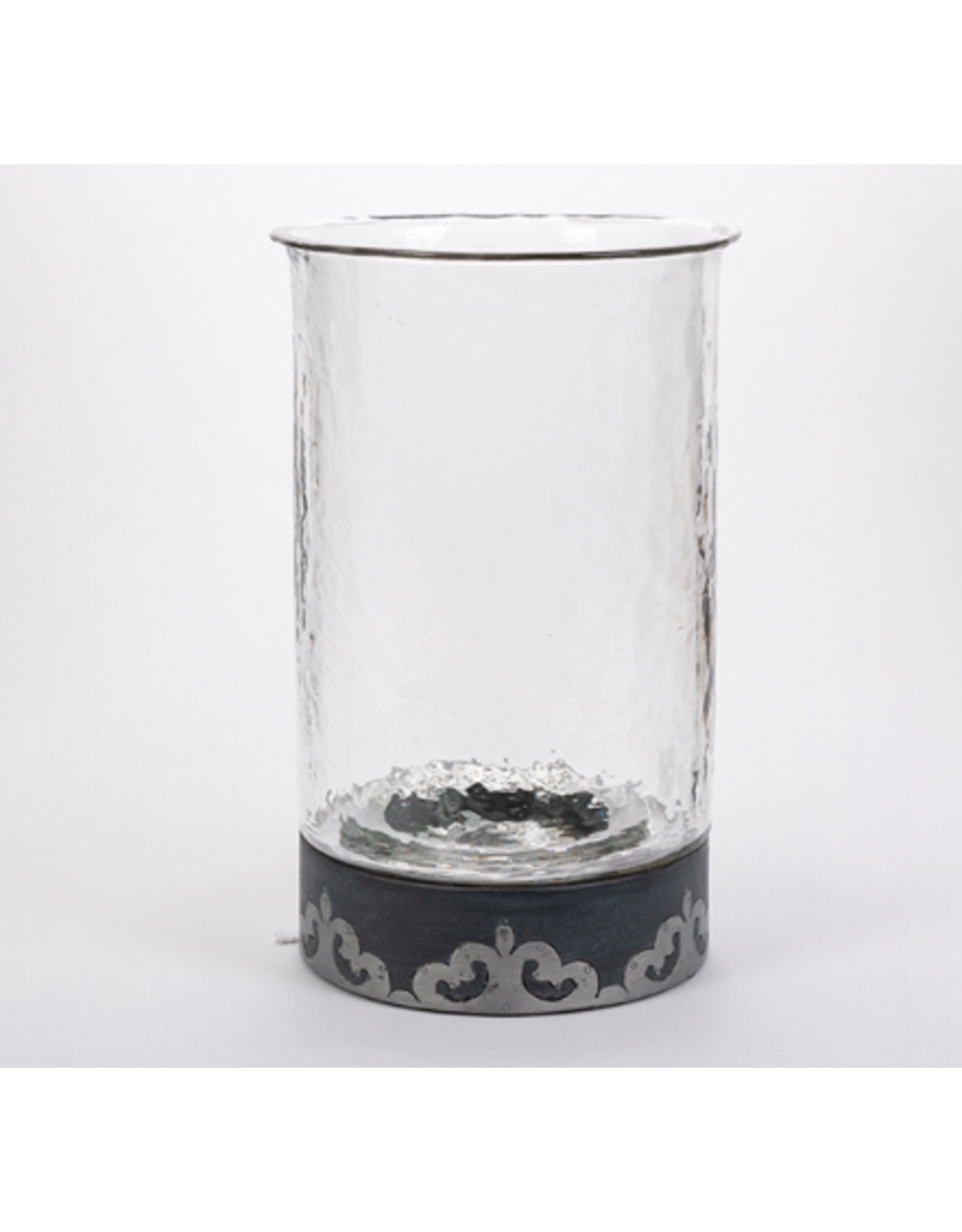 Gerson Charcoal Wood Round Candleholder