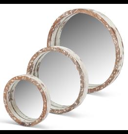 Gerson White Wood Round Mirror Medium