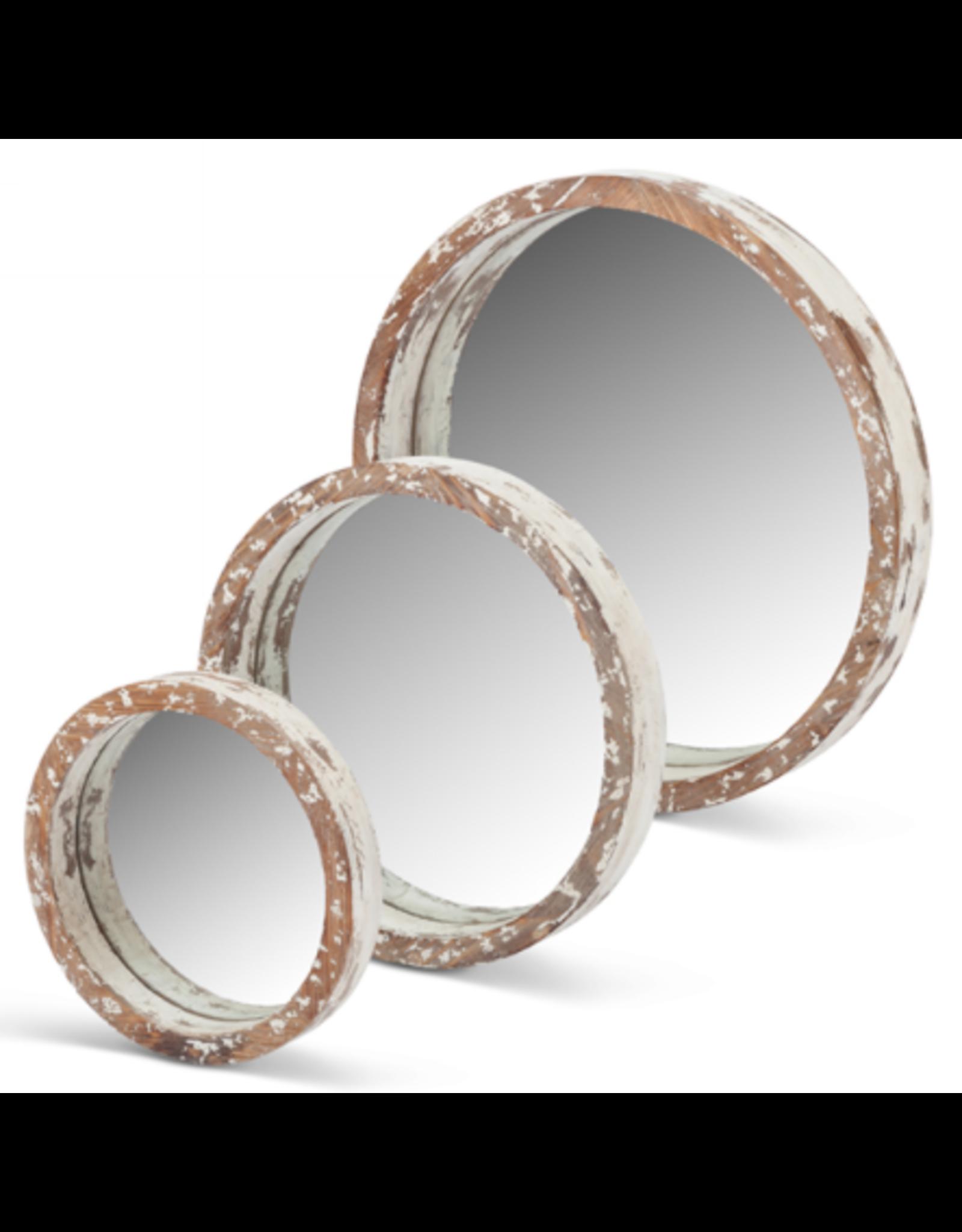 Gerson White Wood Round Mirror Small