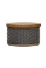 Bloomingville Stoneware Canister with Bamboo Lid Dot