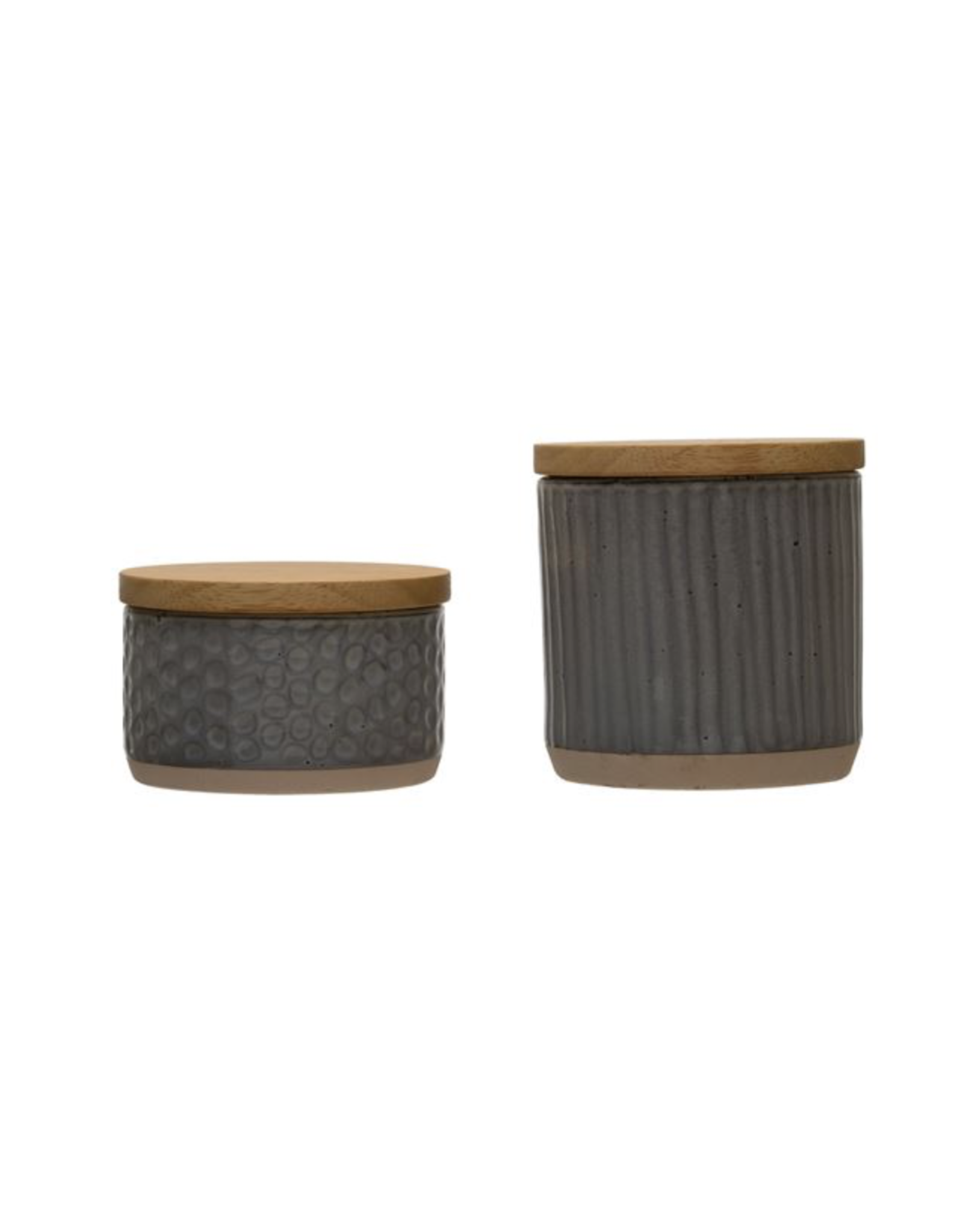 Bloomingville Stoneware Canister with Bamboo Lid Stripe
