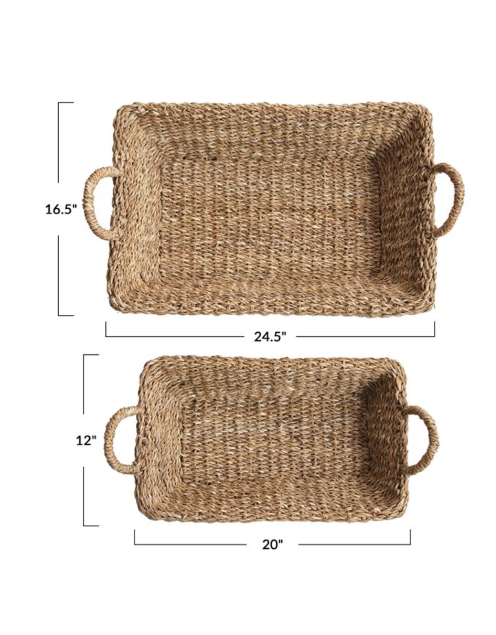 Bloomingville Hand Woven Seagrass Tray with Handles, Small