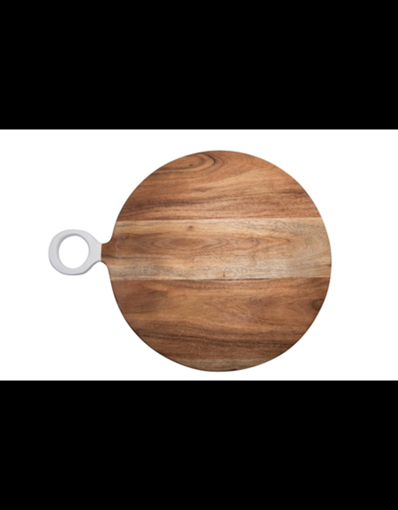 "BIDK Acacia Wood Round Cutting Board with White Handle 13.75"""