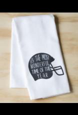 Little Birdie Most Wonderful Time Gray Helmet Tea Towel