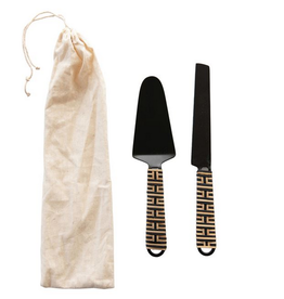 Bloomingville Stainless Steel Cake Knife & Server with Rattan Wrapped Handle, Set of 2
