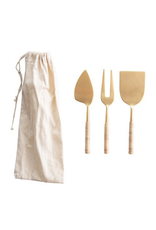 Bloomingville Stainless Steel Cheese Servers with Woven Rattan Handles, Gold Finish, Set of 3