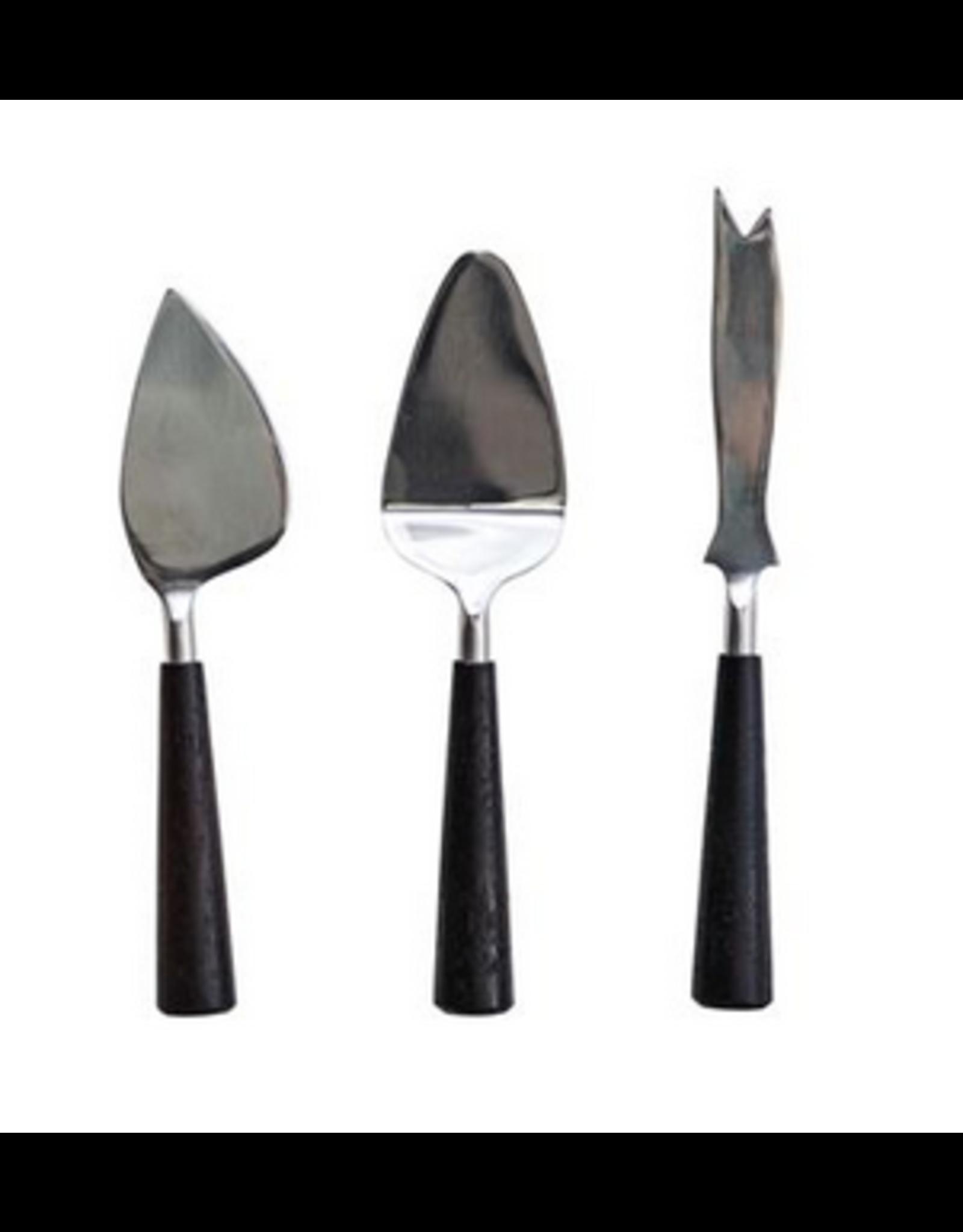 Bloomingville Steel & Black Wood Serving Utensils, set of 3